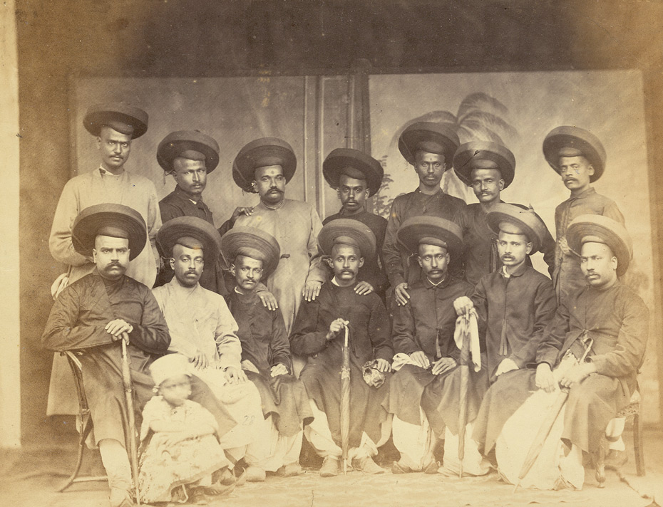 Studio portrait of Parbhu group, Bombay.